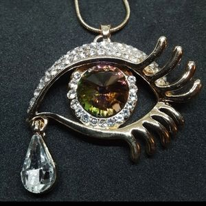 Multicolor Crystal Evil Eye Pendant Necklace
